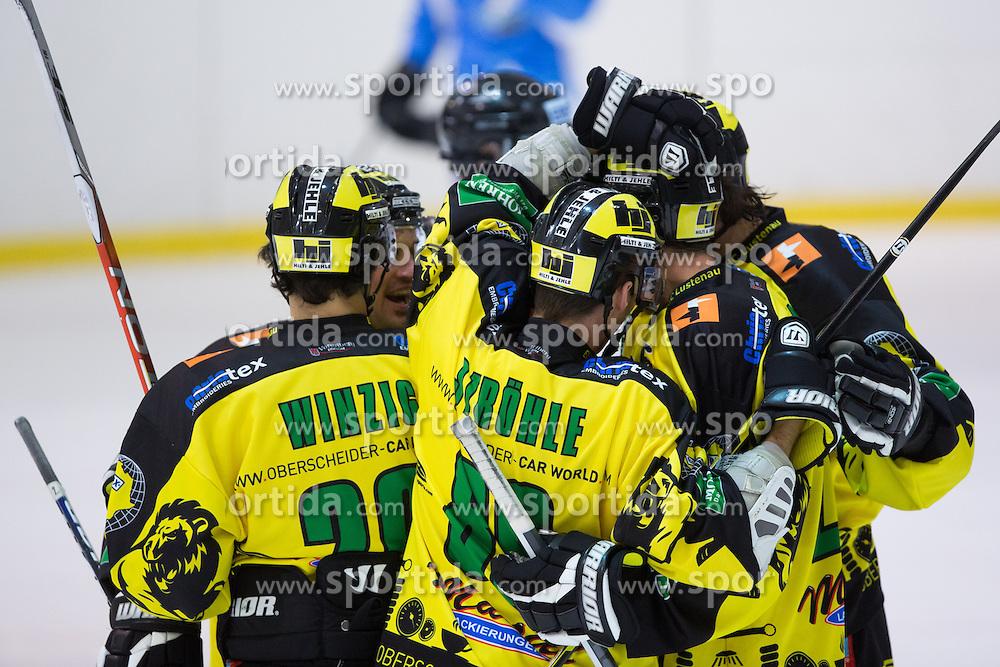 Players of EHC Palaoro Lustenau celebrate scoring a goal during Inter National League ice hockey match between HK Triglav Kranj and EHC Palaoro Lustenau, on October 7, 2012 in Ledena Dvorana, Kranj, Slovenia. (Photo by Matic Klansek Velej / Sportida.com)