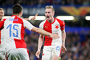 Slavia Prague's Petr Ševčík (23) celebrates his wonder strike during the Europa League quarter-final, leg 2 of 2 match between Chelsea and Slavia Prague at Stamford Bridge, London, England on 18 April 2019.