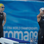 Cate Campbell, Australia, next to Britta Steffen, Germany in the Women's 50m Semi Finals won by Campbell at the World Swimming Championships in Rome on Saturday, August 01, 2009. Photo Tim Clayton