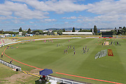 General view of Bay Oval as players warm up ahead of the McDonalds Super Smash T20 cricket match - Knights v Aces played at Bay Oval, Mount Maunganui, New Zealand on Tuesday 27 December 2016.<br /> <br /> Copyright photo: Bruce Lim / www.photosport.nz