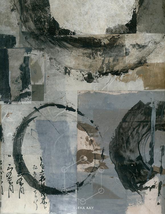 Abstract boro painting with enso circles.