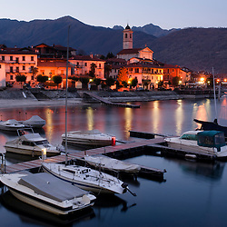 The village of Feriolo on Lake Maggiore, Italy, at dusk.