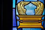 Stained glass depicting the Ark of the Covenant (Exodus 37) on Wednesday, May 13, 2020, at St. Paul's Lutheran Church, Columbia, Ill. LCMS Communications/Erik M. Lunsford