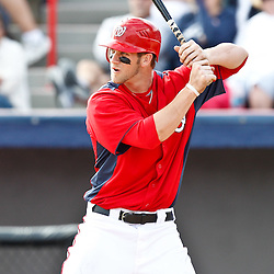 March 4, 2011; Viera, FL, USA; Washington Nationals right fielder Bryce Harper (34)  during a spring training exhibition game against the Atlanta Braves at Space Coast Stadium.  Mandatory Credit: Derick E. Hingle