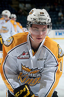KELOWNA, CANADA - OCTOBER 25: Tanner Kaspick #16 of Brandon Wheat Kings skates during warm up against the Kelowna Rockets on October 25, 2014 at Prospera Place in Kelowna, British Columbia, Canada.  (Photo by Marissa Baecker/Getty Images)  *** Local Caption *** Tanner Kaspick;