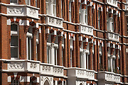Handsome red brick architecture of Victorian properties in Wilbraham Place, London's Belgravia, SW1