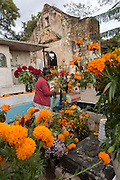 An woman decorates a family members grave at Xoxocatian cemetery decorated with flowers and candles for the Day of the Dead Festival known in spanish as Día de Muertos on October 31, 2014 in Oaxaca, Mexico.