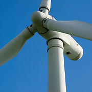 Closeup of an electrical generating wind turbine on the top of the English Pennine Hills in Britain.