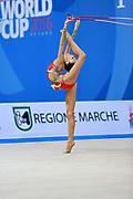 "Adilkhanova Alina from Kazakhstan during rope routine at  the International Tournament ""Città di Pesaro"", 01 April, 2016.This tournament dedicated to the youngest athletes is at the same time of the World Cup."