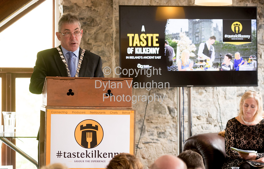 Repro Free No charge for Repro<br /> <br /> 24-4-17<br /> <br /> Helen Carroll of RTE&rsquo;s Ear to the Ground launched the next phase of #TasteKilkenny on Monday, 24th April at a lunch event at Highbank Orchards &amp; Distillery, Cuffesgrange, Co Kilkenny.<br /> <br /> Pictured at the launch is Cllr Matt Doran, Cathaoirleach Kilkenny County Council.<br />  <br /> An afternoon of tasting and presentations took place, including a welcome address by Cllr Matt Doran, Cathaoirleach and an update on the #TasteKilkenny initiative by Fiona Deegan. Followed by the official launch of the #TasteKilkenny website and videos.<br />  <br /> #TasteKilkenny was established as a collective of Kilkenny based producers and outlets to promote the vibrant food scene in Kilkenny and create a platform to showcase the very best of local food production. For more information see: www.TasteKilkenny.ie.<br /> <br /> Picture Dylan Vaughan.