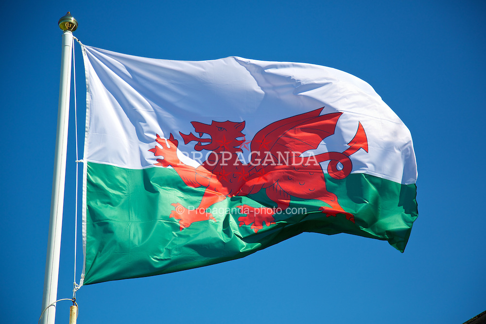 HAVERFORDWEST, WALES - Sunday, August 25, 2013: The Wales flag flies before the Group A match against France of the UEFA Women's Under-19 Championship Wales 2013 tournament at the Bridge Meadow Stadium. (Pic by David Rawcliffe/Propaganda)