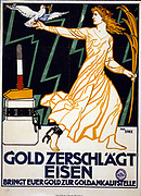 Woman representing Peace, carrying a dove and a gold palm, strides away from the block from which she has been freed by gold hammer. Gold Breaks Iron Bring your gold to a gold dealer.  Poster c1919. Lithograph.