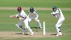 Somerset's Marcus Trescothick cuts the ball. - Photo mandatory by-line: Harry Trump/JMP - Mobile: 07966 386802 - 16/06/15 - SPORT - CRICKET - LVCC County Championship - Division One - Day Three - Somerset v Nottinghamshire - The County Ground, Taunton, England.