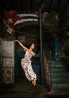 HAVANA, CUBA - CIRCA JANUARY 2020: Portrait of ballerina in Havana.