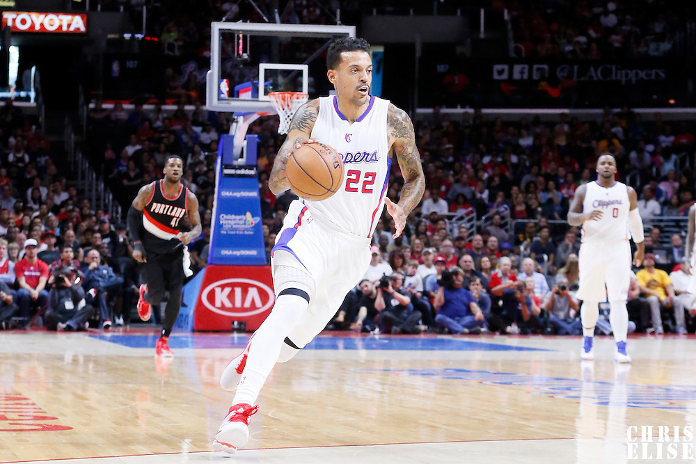 08 November 2014: Los Angeles Clippers forward Matt Barnes (22) dribbles during the Los Angeles Clippers 106-102 victory over the Portland Trail Blazers, at the Staples Center, Los Angeles, California, USA.