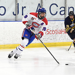 TORONTO, ON  - JAN 7,  2018: Ontario Junior Hockey League game between the Toronto Jr. Canadiens and the Buffalo Jr. Sabres, Jack McBain #19 of the Toronto Jr. Canadiens skates with the puck during the first period.<br /> (Photo by Andy Corneau / OJHL Images)
