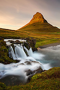 Sunset over the waterfalls near Kirkjufell, Grundarfjordur