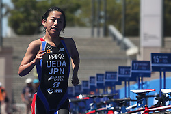 Ai Ueda of Japan during the Elite Women race of the Discovery Triathlon World Cup Cape Town leg held at Green Point in Cape Town, South Africa on the 11th February 2017.<br /> <br /> Photo by Shaun Roy/RealTime Images