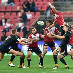 Johannesburg, SOUTH AFRICA, 21, MAY 2016 - during the Super Rugby match between Emirates Lions vs Jaguares ,Emirates Airlines Park,Johannesburg.<br /> Facundo Gigena of the Jaguares and Warren Whiteley of the Emirates Lions. <br /> <br /> South Africa. (Photographer Christiaan Kotze ) -- (Steve Haag Sports) <br /> <br /> Images for social media must have consent from Steve Haag