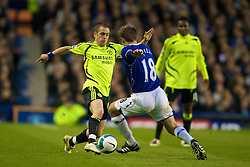 LIVERPOOL, ENGLAND - Thursday, April 17, 2008: Everton's Phil Neville and Chelsea's Joe Cole during the Premiership match at Goodison Park. (Photo by David Rawcliffe/Propaganda)