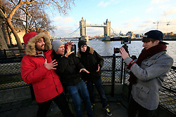 UK ENGLAND LONDON 5DEC12 - Chris Manazides (26), Sebastian Meichsner (26) of bullshittehvau, Tom Ravach (22) and Ardian Bora (20, L-R) of mirrorzfx shoot on location in central London during the YouTube NextUp training and mentorship programme.....25 winners from YouTube's NextUp competetion were selected to receive an all-expenses paid trip to London where they are attending a week of training and mentorship.....jre/Photo by Jiri Rezac....© Jiri Rezac 2012