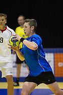Handbal Heren EYOF 2013 Utrecht, Oostenrijk-Nederland (L-R): Kay Smits (ned), Sebastiaan spendier (oos), Niels Poot (ned)