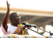 Ghana's new president John Atta Mills waves during his inauguration in Accra, Ghana on Wednesday January 7, 2009.