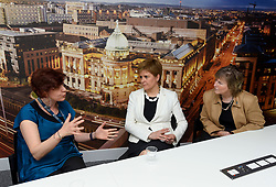 Pictured: Nicola Sturgeon chats with Senior Lecturer Maria Economou from Greece (left) and Human Resources Director Christine Barr (right).<br /> <br /> SNP leader Nicola Sturgeon met workers at Glasgow University from the EU ahead of next week's European elections.<br /> <br /> © Dave Johnston / EEm