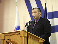 Representative Ray Zirkelbach (D-31) speaks at the 14th Annual Veterans Day Assembly at Anamosa High School in Anamosa on Tuesday, November 11, 2008.  (Stephen Mally/Freelance)