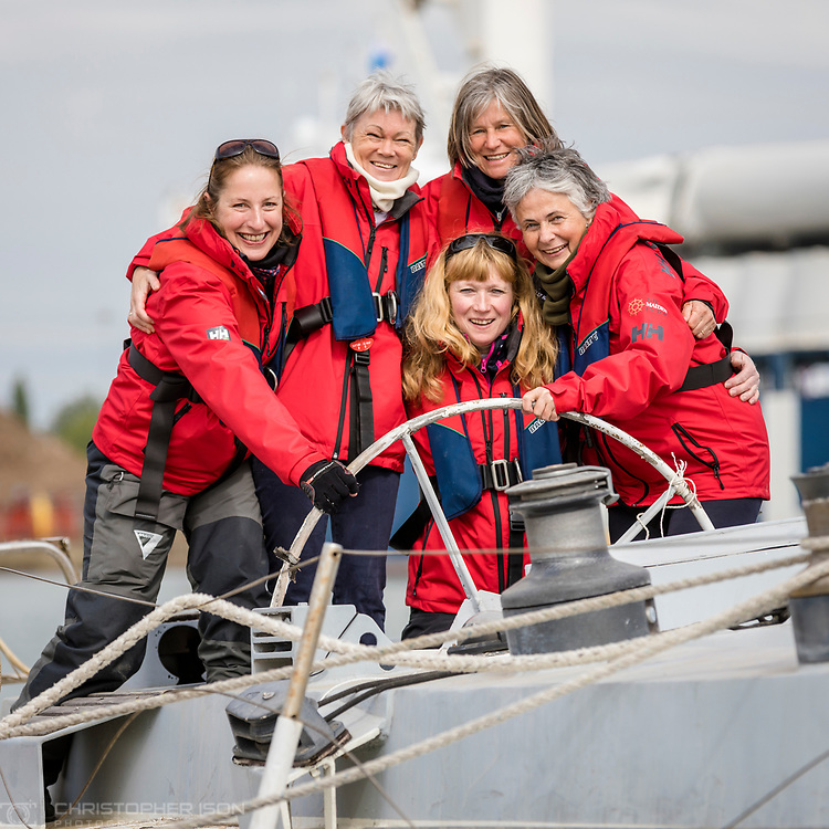 Tracy Edwards MBE and crew reunited with Maiden 27 years after sailing into the history books. Maiden and her all-female crew competed in the Whitbread Round The World Race in 1989/90 winning two legs and coming second overall. Maiden will be restored in Southampton over the next year before sailing around the world as an ambassador for the Maiden Factor, to promote education for girls.<br /> Picture date: Monday April 24, 2017.<br /> Photograph by Christopher Ison &copy; Empics<br /> 07544044177<br /> chris@christopherison.com<br /> www.christopherison.com
