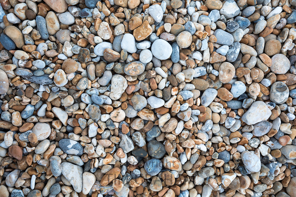 Shingle on the pebbly beach at Dungeness in Kent, UK