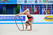 Kabrits Laurabell during qualifying at hoop in Pesaro World Cup 10 April 2015. Laurabell is an Estonian rhythmic gymnastics athlete born on March 3 ,1999 in Tallinn, Estonia