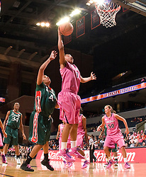 Virginia forward Lyndra Littles (1) grabs a rebound against Miami.  The #21 ranked Virginia Cavaliers defeated the Miami Hurricanes 85-74 in overtime at the John Paul Jones Arena in Charlottesville, VA on February 19, 2009.