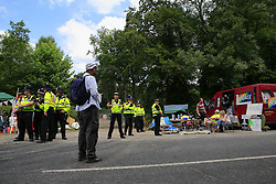 UK ENGLAND WEST SUSSEX BALCOMBE 26JUL13 - Police show a presence as local residents protest at the Cuadrilla hydraulic fracking drill site in Balcombe, West Sussex.<br /> <br /> <br /> <br /> Cuadrilla plans to start drilling a 3,000ft (914m) vertical well and a 2,500ft (762m) horizontal bore to the south of the village in search for oil and gas resources.<br /> <br /> <br /> <br /> jre/Photo by Jiri Rezac<br /> <br />  / GREENPEACE<br /> <br /> &Acirc;&copy; Jiri Rezac 2013