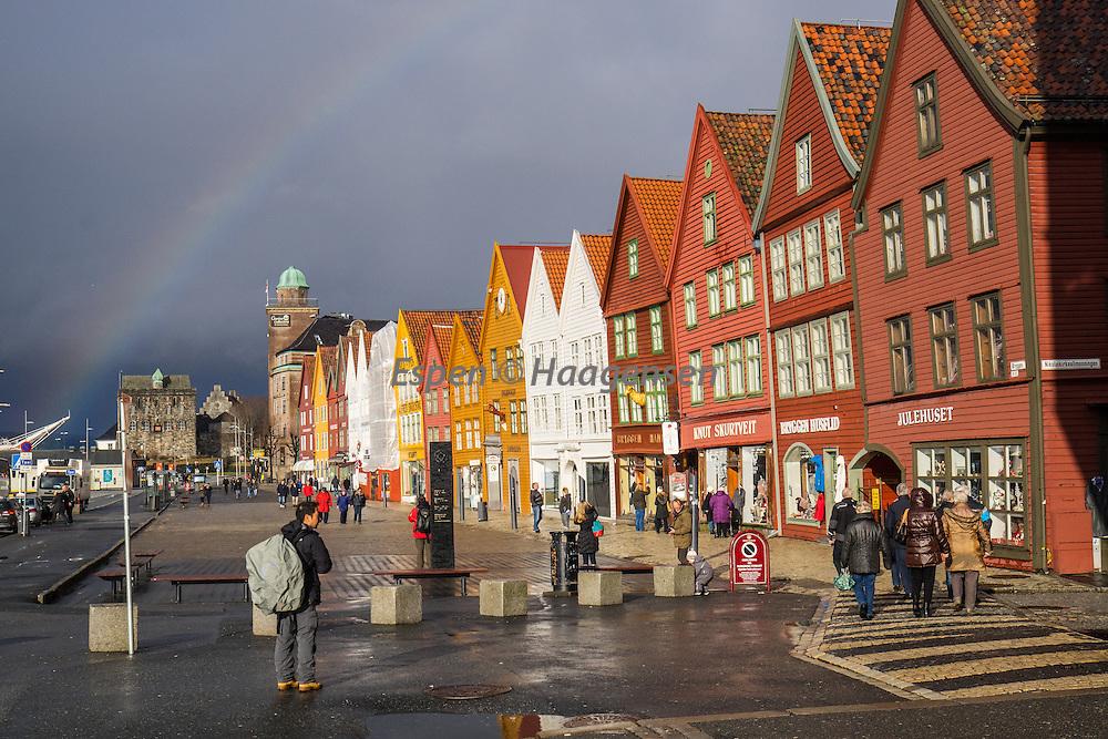Rainbow above Bryggen