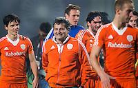 NEW DELHI -   Vreugde bij Wouter Jolie, Bondscoach Paul van Ass, Pirmin Blaak, Robert van der Horst en Billy Bakker (r) en Wouter Jolie na de halve finale  van de Hockey World League finaleronde tussen de mannen van Nederland en Australie (4-3) . Nederland bereikt de finale tegen Nieuw-Zeeland. ANP KOEN SUYK