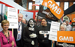 GMB protest during the Labour Party Conference in Manchester, Monday October 1 2012, Photo by Elliott Franks / i-Images.