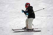 Italy, Italian Alps, The Dolomites Young boy skis