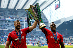 George Kruis and Maro Itoje of Saracens celebrate winning the Heineken Champions Cup after beating Leinster Rugby in the Final - Mandatory by-line: Robbie Stephenson/JMP - 11/05/2019 - RUGBY - St James' Park - Newcastle, England - Leinster Rugby v Saracens - Heineken Champions Cup Final
