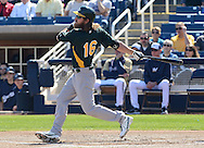 PHOENIX, AZ - FEBRUARY 23:  Josh Reddick #16 of the Oakland Athletics bats against the Milwaukee Brewers during the spring training game at Maryvale Baseball Park on February 23, 2013 in Phoenix, Arizona.  (Photo by Jennifer Stewart/Getty Images) *** Local Caption *** Josh Reddick
