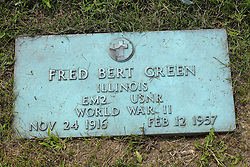 31 August 2017:   Veterans graves in Park Hill Cemetery in eastern McLean County.<br /> <br /> Fred Bert Greem  Illinois  EM2  USNR  World War II  Nov 24 1916  Feb 12 1957
