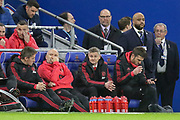 Mike Phelan Manchester United interim Manager Ole Gunnar Solskjaer and Michael Carrick on bench  during the Premier League match between Cardiff City and Manchester United at the Cardiff City Stadium, Cardiff, Wales on 22 December 2018.