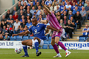 Chesterfield forward Chris O'Grady falls to the floor as he keeps hold of the ball during the EFL Sky Bet League 2 match between Chesterfield and Grimsby Town FC at the Proact stadium, Chesterfield, England on 5 August 2017. Photo by Aaron  Lupton.