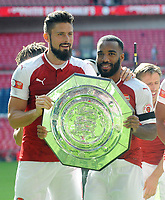 Football - 2017 Community Shield - Chelsea vs. Arsenal<br /> <br /> Arsenal's French players, Oliver Giroud and new signing Alexandre Lacazette with the Shield at Wembley.<br /> <br /> <br /> COLORSPORT/ANDREW COWIE