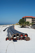 Redington Beach, Pinelles County,  Florida, USA., Monday, 15th October, 2018, Beach Replenishment, Black, Sand Delivery Pipes,
