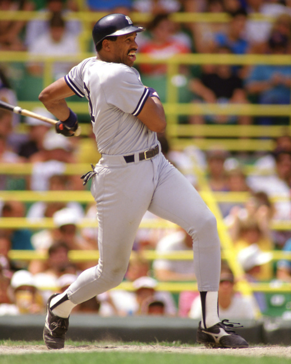 CHICAGO - 1987:  Dave Winfield of the New York Yankees bats during an MLB game versus the Chicago White Sox during the 1987 season at Comiskey Park in Chicago, Illinois. (Photo by Ron Vesely) Subject:   Dave Winfield