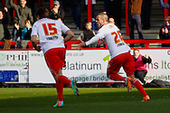 Jimmy Smith of Stevenage (right) celebrates scoring the opening goal during the Sky Bet League 1 match at the Lamex Stadium, Stevenage<br /> Picture by David Horn/Focus Images Ltd +44 7545 970036<br /> 08/03/2014