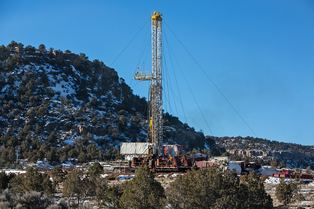 Rig next to the Schreiber's Devil Springs Ranch in Blanco, New Mexico.