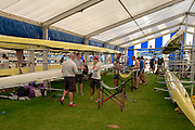 "Henley on Thames, United Kingdom, 29th June 2018, Friday, ""Henley Royal Regatta"", Qualifying races, [Time Trails] Crews Relax, ""rig and prepare, their boat, before they race, over the, Regatta Course, Henley Reach, River Thames, Thames Valley, England, © Peter SPURRIER, 29/06/2018"