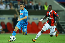 August 22, 2017 - Nice, France - Dries Mertens of Napoli and Jean Michael Seri of Nice  during the UEFA Champions League Qualifying Play-Offs round, second leg match, between OGC Nice and SSC Napoli at Allianz Riviera Stadium on August 22, 2017 in Nice, France. (Credit Image: © Matteo Ciambelli/NurPhoto via ZUMA Press)